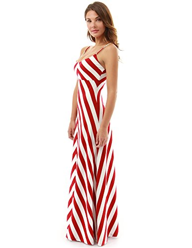 PattyBoutik Mujer vestido maxi correa de espagueti de rayas rojo y blanco