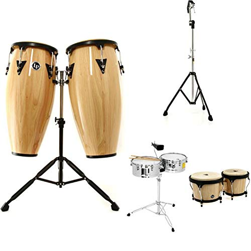 Latin Percussion Aspire Wood Conga-Bongos-Timbales Bundle - Natural