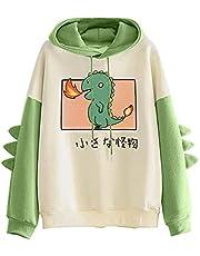 XUJY Kawaii Dino Damestrui met capuchon, fleece, voor tienermeisjes, hoodie, pullover met capuchon, dinosaurus, sweatshirt met lange mouwen, bovenstuk, top zonder zakken, buitenkleding