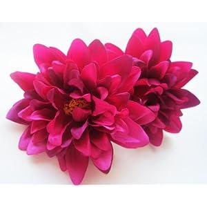 "(2) Violet Silk Dahlia Flower Heads - 4"" - Artificial Flowers Dahlias Head Fabric Floral Supplies Wholesale Lot for Wedding Flowers Accessories Make Bridal Hair Clips Headbands Dress 110"