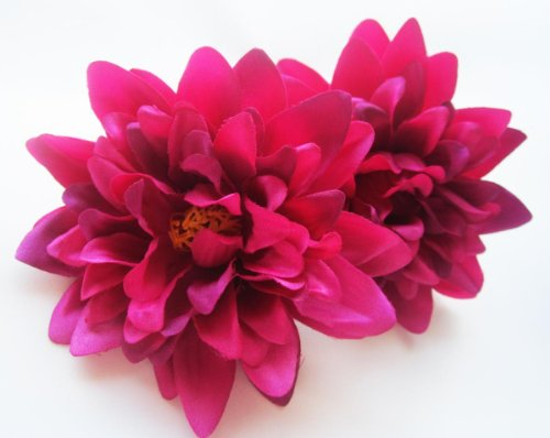 (2) Violet Silk Dahlia Flower Heads - 4