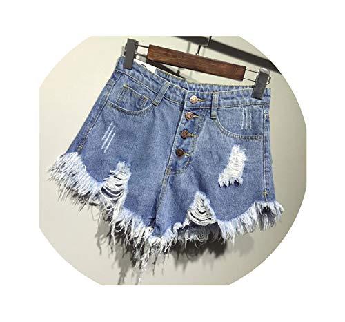 - Casual Summer Denim Women Shorts high Waists Fur-Lined Leg-Openings Plus Size Sexy Short Jeans TJ1115,Blue,M