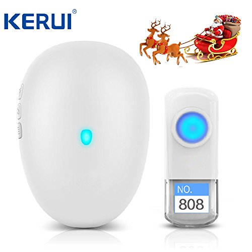 Wireless Doorbell Waterproof Door Bell Kit 4 Level Volume over 500 Feet Operating with 57 Chimes LED Indicator(White) (Door Level)