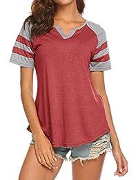 b57ebc43e8a Women's Summer V Neck Raglan Short Sleeve Shirts Casual Blouses Baseball Tshirts  Top