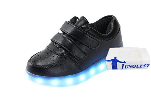 [Presente:pequeña toalla]JUNGLEST® Unisex 7 Colors USB Carga LED Luz Luminosas Flashing Sneakers Altotop Zapatos Zapatillas de Depo c12
