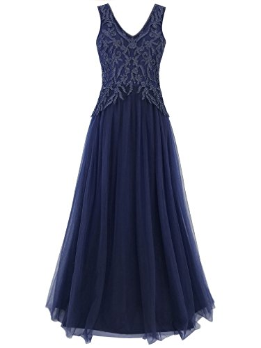 MANER Women's V-Neck Tulle Beaded Embroidered Evening Gowns Prom Party Wedding Long Dress(XL, Blue) (Prom Gown Tulle)