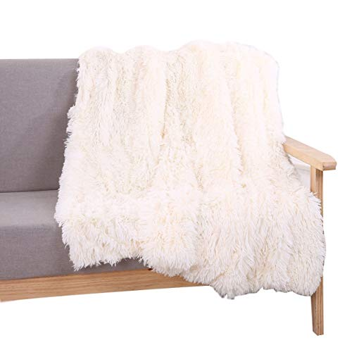 YOUSA Super Soft Shaggy Faux Fur Blanket Ultra Plush Decorative Throw Blanket 63''79'',Cream White