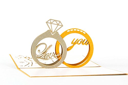 1pc Handmade 3D Pop Up Diamond Ring Greeting Cards Postcard with Matching Envelope (style 6#) By Alimitopia