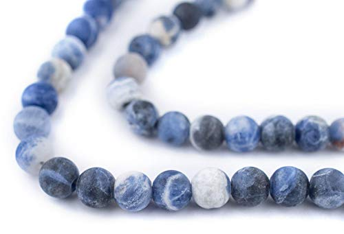 TheBeadChest Matte Round Sodalite Beads (6mm): Organic Gemstone Round Spherical Energy Stone Healing Power for Jewelry Bracelet Mala Necklace Making