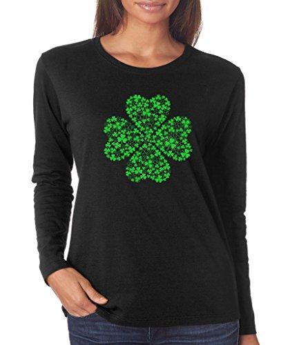 SignatureTshirts Women's Saint Patricks Day Lucky 4 Leaf Clover Long Sleeve T-Shirt (Lime Green Print) L Black