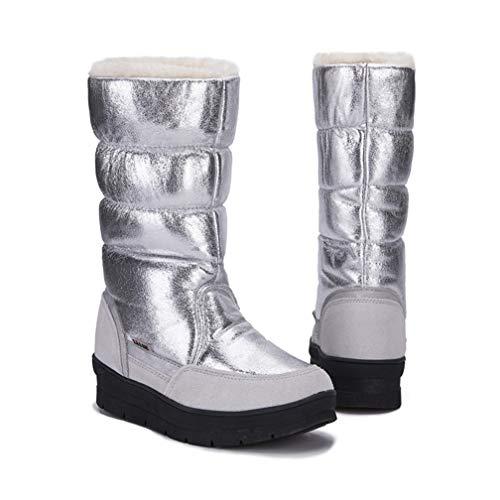 JOYBI Women Warm Waterproof Mid Calf Snow Boots Slip On Fur Lined Round Toe Comfort Winter Platform Boot