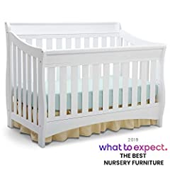 Featuring a beautiful, understated sleigh silhouette, the Bentley 'S' Series 4-in-1 Crib from Delta Children delivers functionality and outstanding value for years to come. Made of solid hardwood, this multi-positional crib is built to handle...