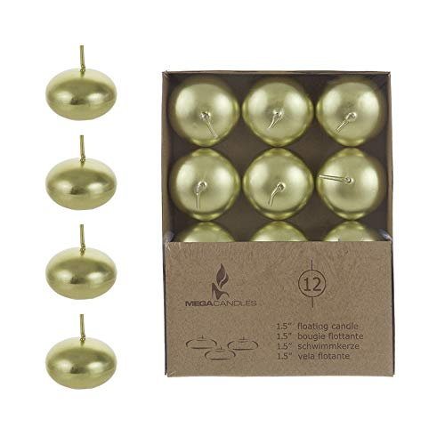 Mega Candles 24 pcs Unscented Gold Floating Disc Candle, Hand Poured Paraffin Wax Candles 1.5 Inch Diameter, Home D