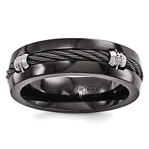 Edward Mirell Black Titanium with Cable Inlay 7mm Wedding Band - Size ()