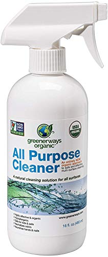 Greenerways Organic All-Purpose Cleaner, Natural, USDA Organic, Non-GMO, Household Multi Surface Spray Cleaner for Home, Glass, Kitchen, Bathroom, Shower, Window, Child Safe - 16oz