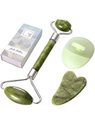 Larvincy Jade Rollers For Face - Gua Sha Scrapping - Himalayan Stone Anti Aging Wrinkles, Puffiness Facial Neck Eyes Rollers - Slimming, Firming, Rejuvenating Skin Massager Treatment Therapy