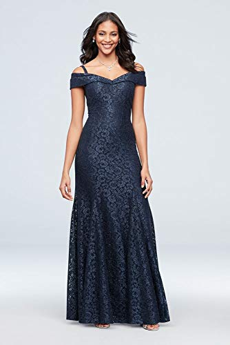 Cold-Shoulder Glitter Lace Mermaid Mother of Bride/Groom Dress Style 2047, Navy, 14