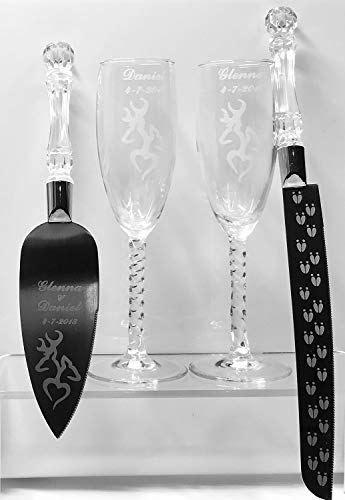 (Deer Heart Engraved Wedding Cake Knife Set & Champagne glasses with Names and Date)