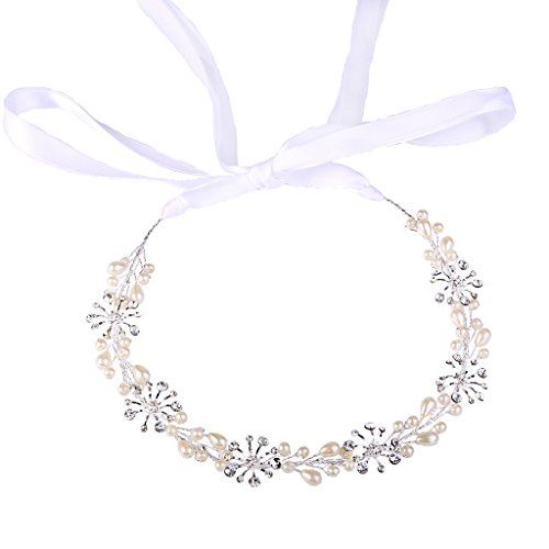 (BriLove Women's Bohemian Boho Ivory Color Simulated Pearl Snowflake Flower Bendable Headband Crystal Hair Vine Accessory Silver-Tone)