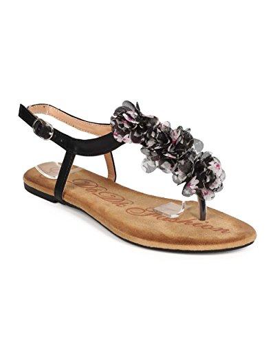 (DBDK Women Flower Chiffon T-Strap Slingback Thong Sandal EB30 - Black (Size:)