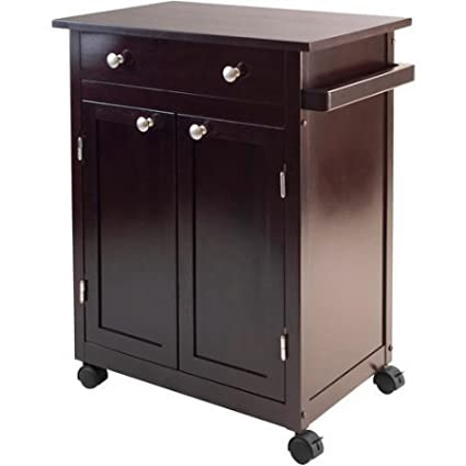 Delicieux Small Dark Espresso Kitchen Cart Rolling Cabinet Drawer Wheels Wood Island  Utility Microwave Stand
