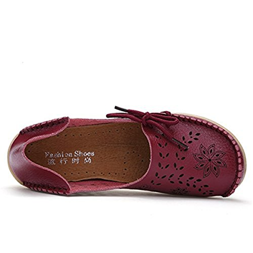 Mocassini In Pelle Da Donna Goeao In Pelle Di Vacchetta Lace Up Casual Mocassino Scarpe Da Guida Flat Slip-on Slippers On-line 2.wine Rosso