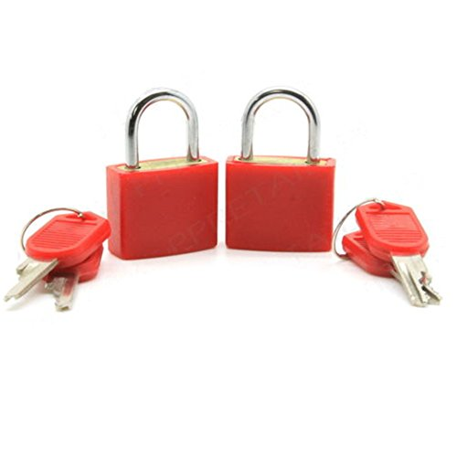 Distinct® 2ST Reise Tiny Koffer Schloss Schubladenschrank Toolbox Padlock Gym Schließfächer Keys (rot)