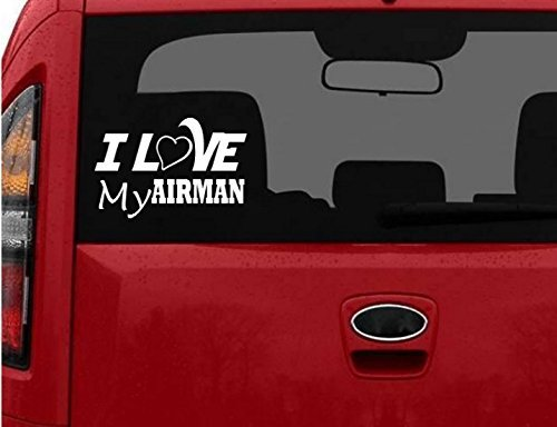 STOM I LOVE MY AIRMAN car truck Laptop Decal Sticker decals sticker Air Force USAF Military US War Hero Soldier Retired Veteran ()