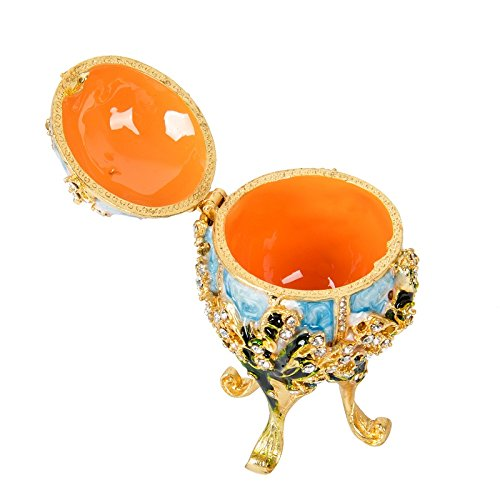 Oeuf de Faberg/é /émaill/é peint /à la main Qifu Bo/îte /à bijoux avec charni/ère D/écoration