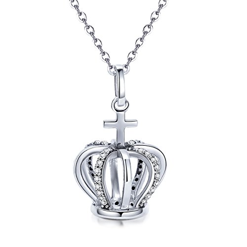 The Kiss Princess Crown Queen Crown & Cross 925 Sterling Silver Pendant Necklace
