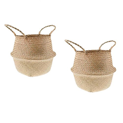 B Blesiya 2pcs Natural Seagrass Basket Planter with Handles Collapsible Home Storage by B Blesiya