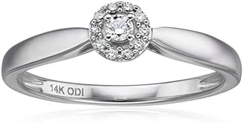 IGI Certified 14k White Gold Round Diamond Halo Solitaire Plus Engagement Ring (H-I Color, I1-I2 Clarity)