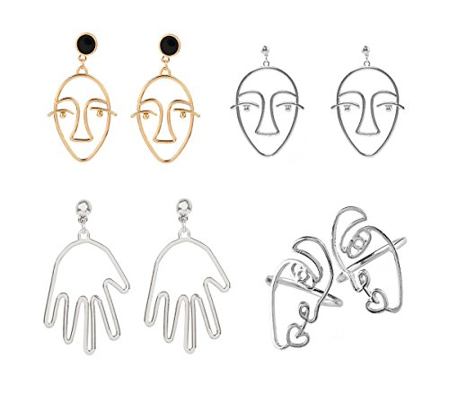 Abstract Design Ring - Mrotrida Abstract Face Earrings Unique Art Face Outline Hand Drop Earring and Face Ring 4 Pair/Set for Women's Party Silver