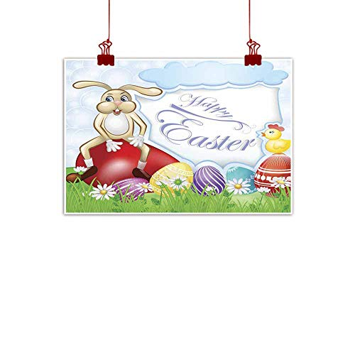 duommhome Simulation Oil Painting Easter Card with Bunny and Chicken Over Egg Background Simulation Oil Painting 24