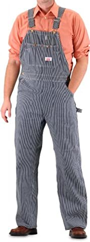 Round House Men's Bib Overall with Zipper Fly Vintage Stripe 44X32 - Fly Bib Overalls