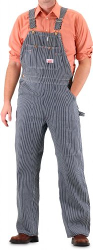 Round House Men's Bib Overall with Zipper Fly Vintage Stripe 40X32