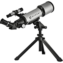 Barska AE10100 Starwatcher 40070 Compact Refractor Telescope with Table Top Tripod And Carrying Case (Silver)