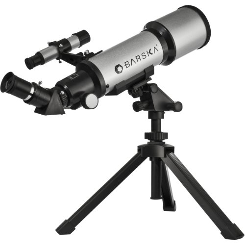 BARSKA Starwatcher 400x70mm Refractor Telescope w/ Tabletop Tripod & Carry - Telescope Tripod Tabletop