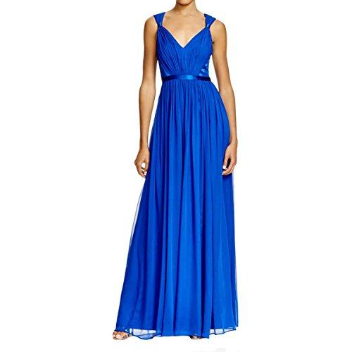 Vera Wang Women's V-Neck Chiffon Gown, Cobalt, 14