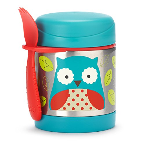 Skip Hop Baby Zoo Little Kid and Toddler Insulated Food Jar and Spork Set, Multi, Otis (Owl Containers)
