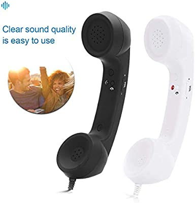 LKCELL Cell Phone Handset Retro Telephone 3.5mm Anti Radiation Receiver for Cellphone,Mobile Phones,Computer Black