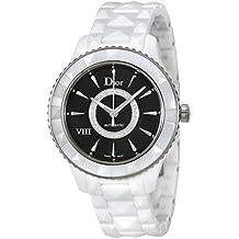 Dior VIII Black Dial Diamond White Ceramic Ladies Watch CD1245E3C005