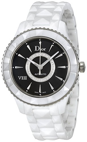 Dior VIII Black Dial Diamond White Ceramic Ladies Watch - Dior Watches Black Ladies
