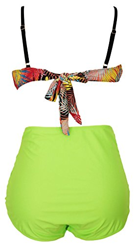 erdbeerloft - Damen Plus Size Bikini, High Waist, Tropical Style, XL-4XL, Mehrfarbig