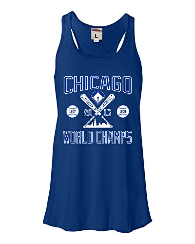 Large Royal Womens Chicago World Champs 2016 Flowy Racerback Tank Top - Chicago Cubs Tank Tops