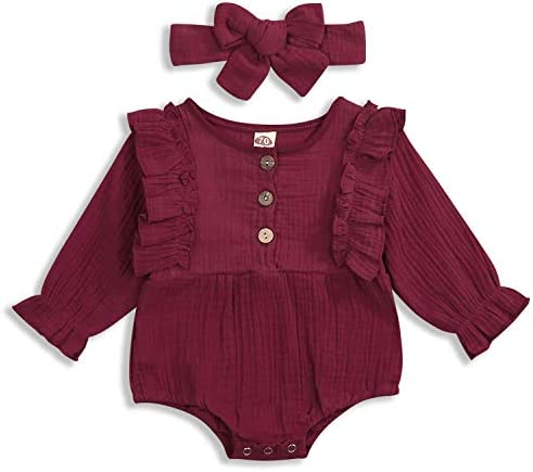 KCSLLCA Baby Girls Boys Kimono Robe Strappy Long Sleeve Solid Color Linen Bodysuit Infant Japanese Pajamas