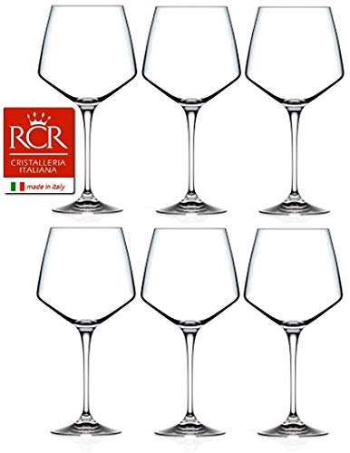 RCR Cristalleria Italiana Aria Collection 6 Piece Crystal Wine Glass Set (Burgundy Wine (24.1/3 oz)