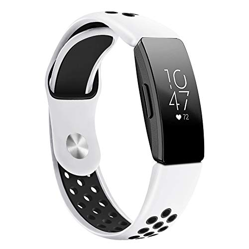 dulawei3 Metal Buckle Soft Silicone Watch Band Strap Wrist Smart Bracelet Fashion Wristband Replacement for Fitbit Inspire HR White Black L