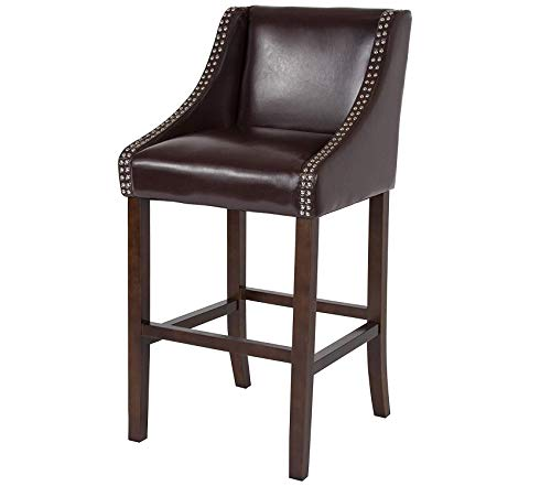 Wood & Style Office Home Furniture Premium Carmel Series 30 High Transitional Walnut Barstool with Accent Nail Trim in Brown Leather