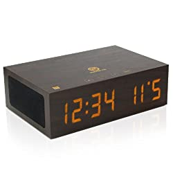 Bluetooth Digital Wooden Alarm Clock Speaker by GOgroove - Wood Style , Built in Microphone , LED Time + Date Display for Phones, MP3 Players, Tablets, & More - Dark Finish